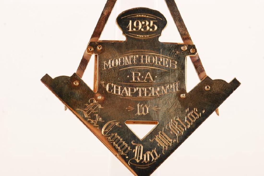 "14K GOLD MASONIC ""HOREB RAC NO 11"" JEWEL 1935 - 10"