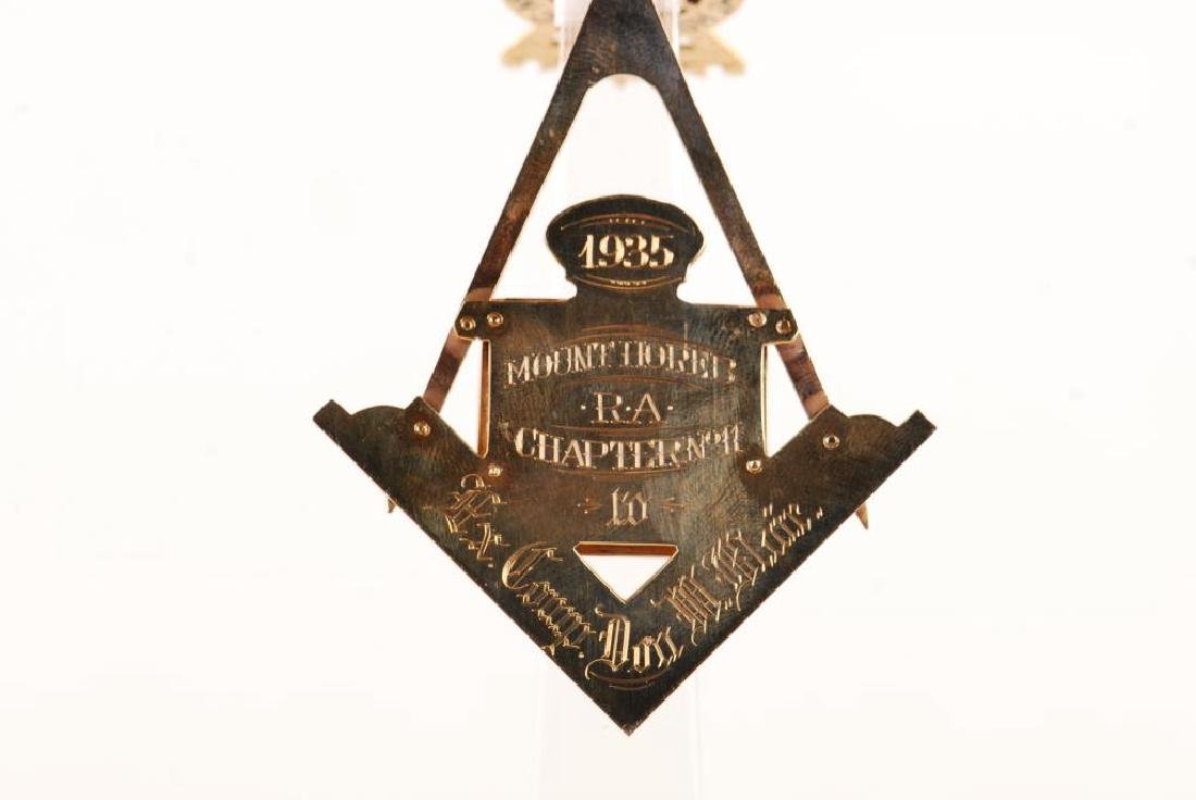 "14K GOLD MASONIC ""HOREB RAC NO 11"" JEWEL 1935 - 3"
