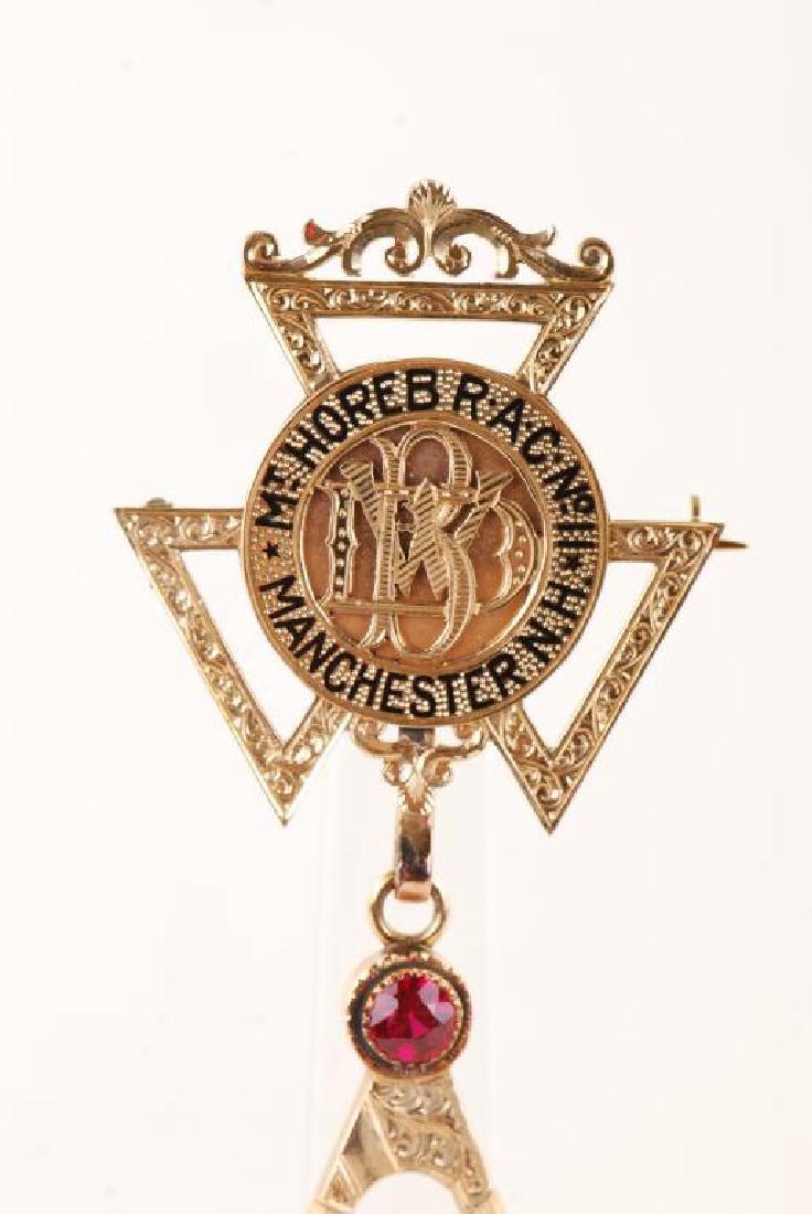 "14K GOLD MASONIC ""HOREB RAC NO 11"" JEWEL 1935 - 8"