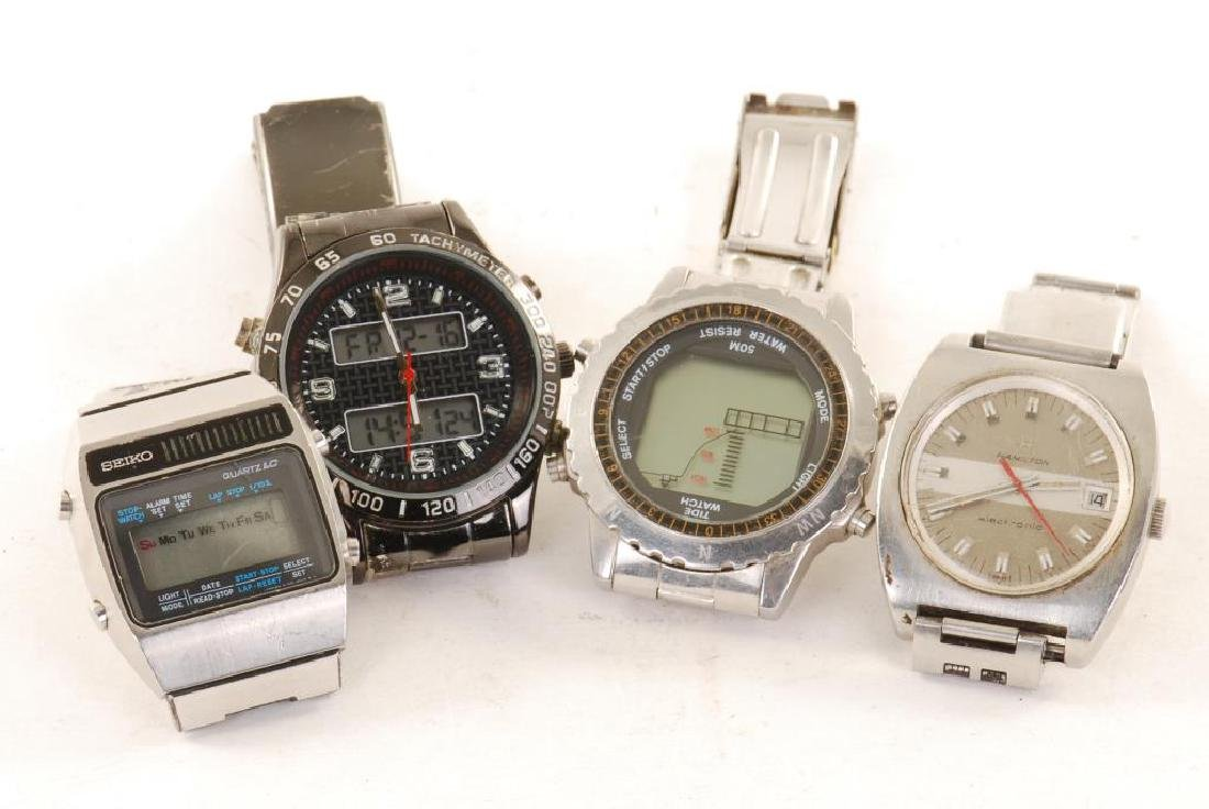 (4) 1970'S VINTAGE MEN'S WRIST WATCHES