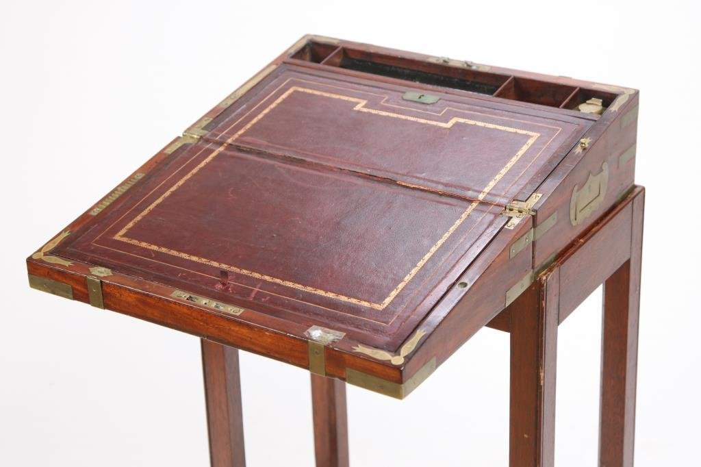 BRASS BOUND LAP DESK ON STAND - 3
