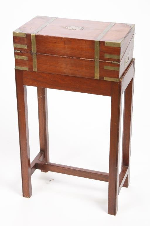 BRASS BOUND LAP DESK ON STAND - 5