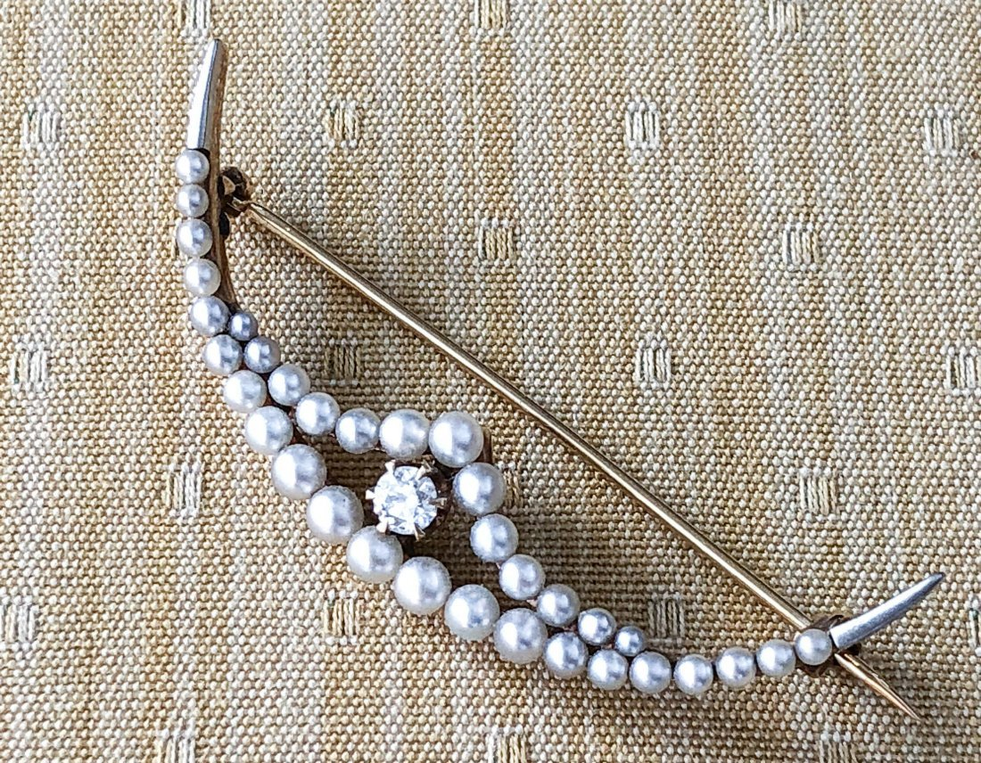 14k GOLD CRESCENT BROOCH SET with DIAMOND & PEARLS - 3