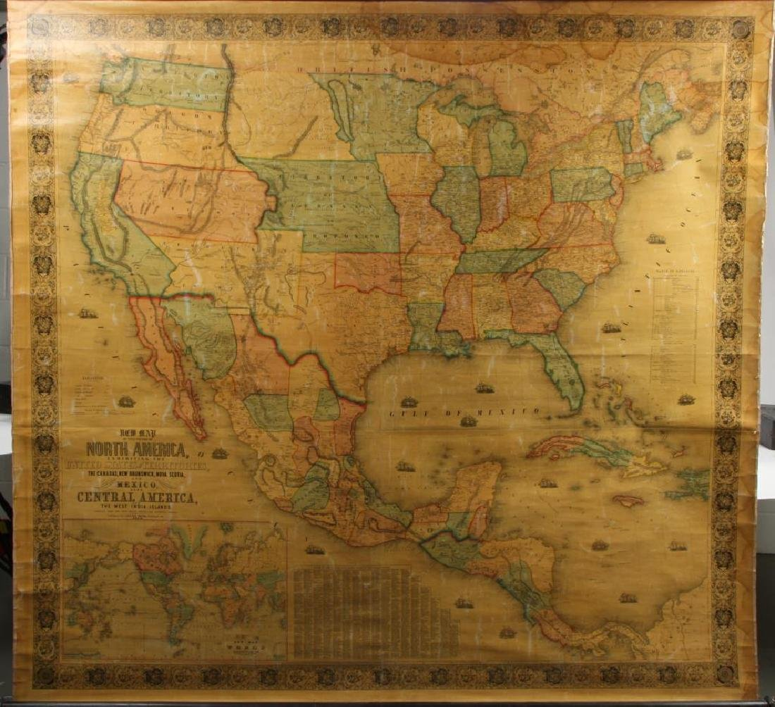 1853 WALL MAP OF NORTH and CENTAL AMERICA