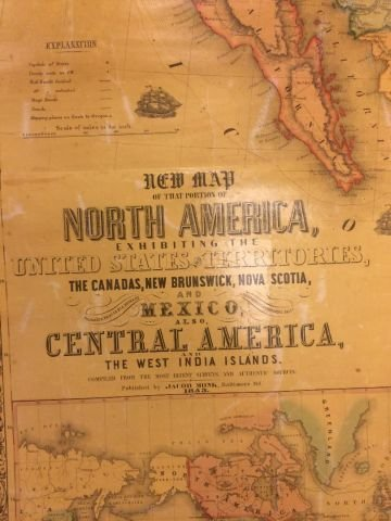 1853 WALL MAP OF NORTH and CENTAL AMERICA - 2