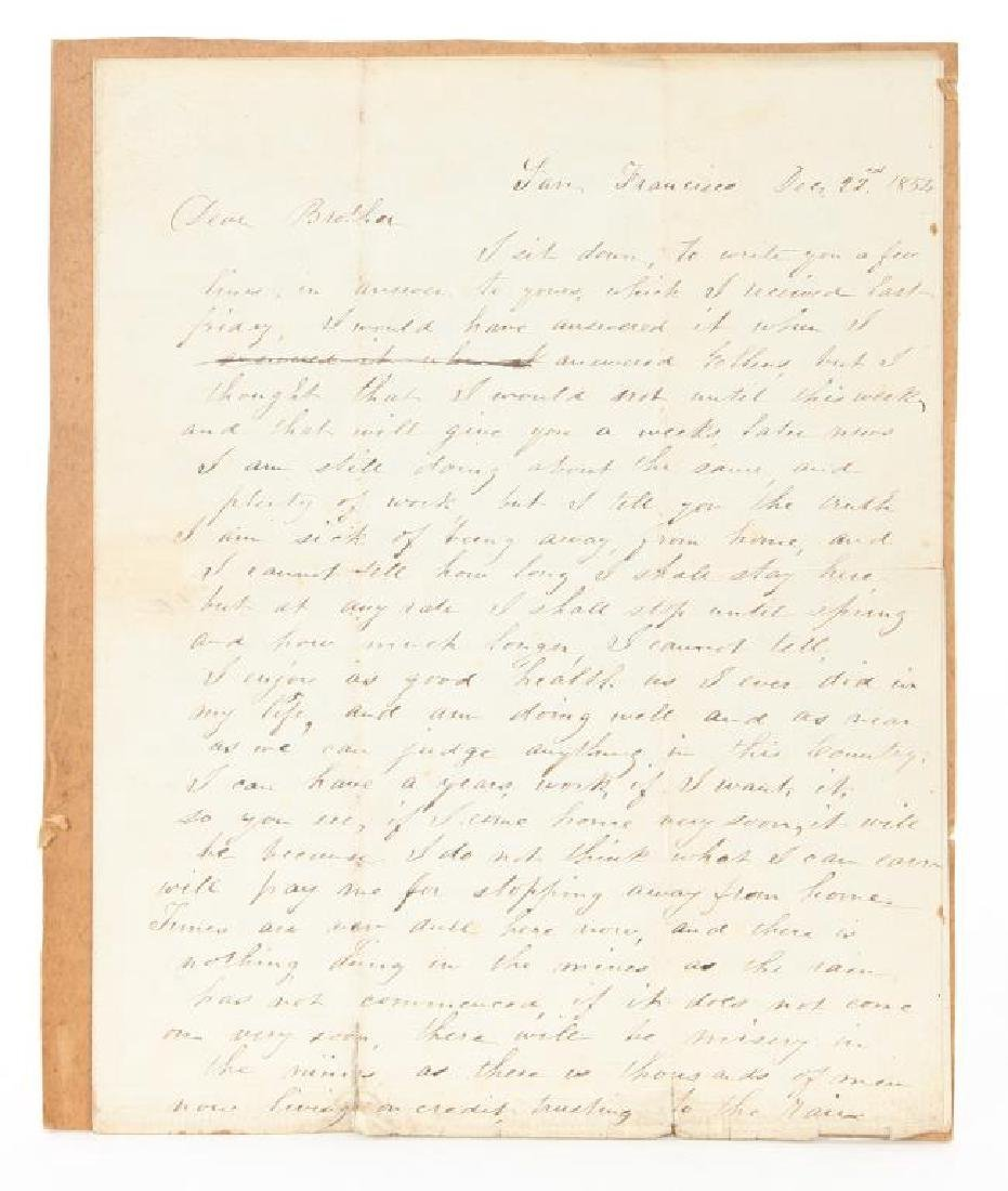 1854 LETTER FROM SAN FRANCISCO