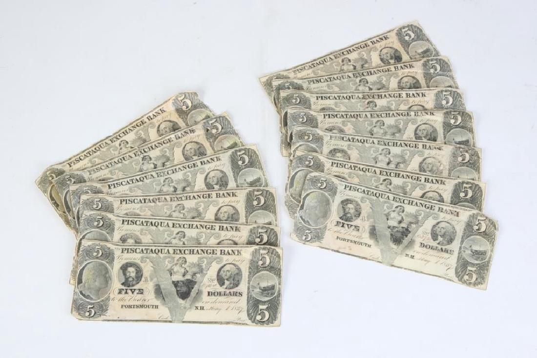 (15) OBSOLETE PISCATAQUA EXCHANGE $5 BANK NOTES