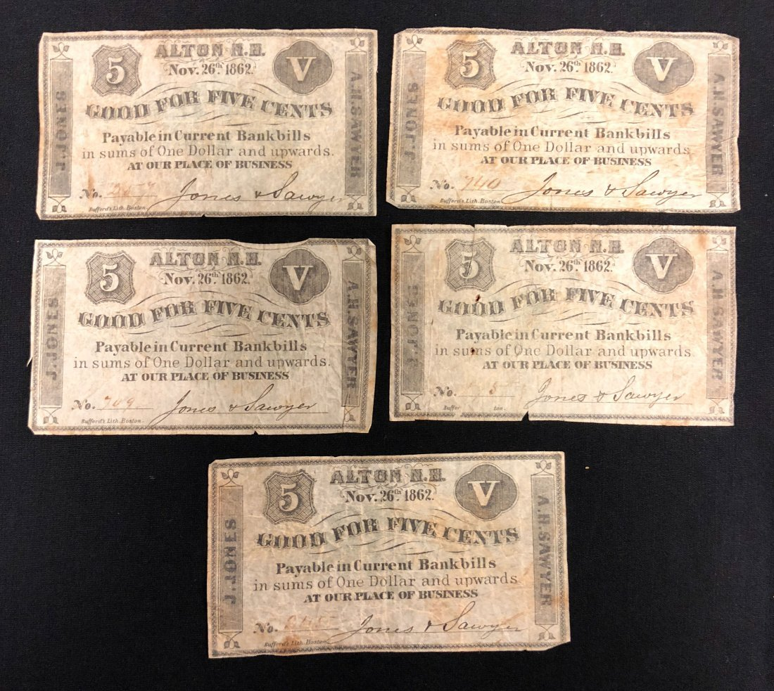 (5) ALTON NH 1862 FRACTIONAL CURRENCY NOTES