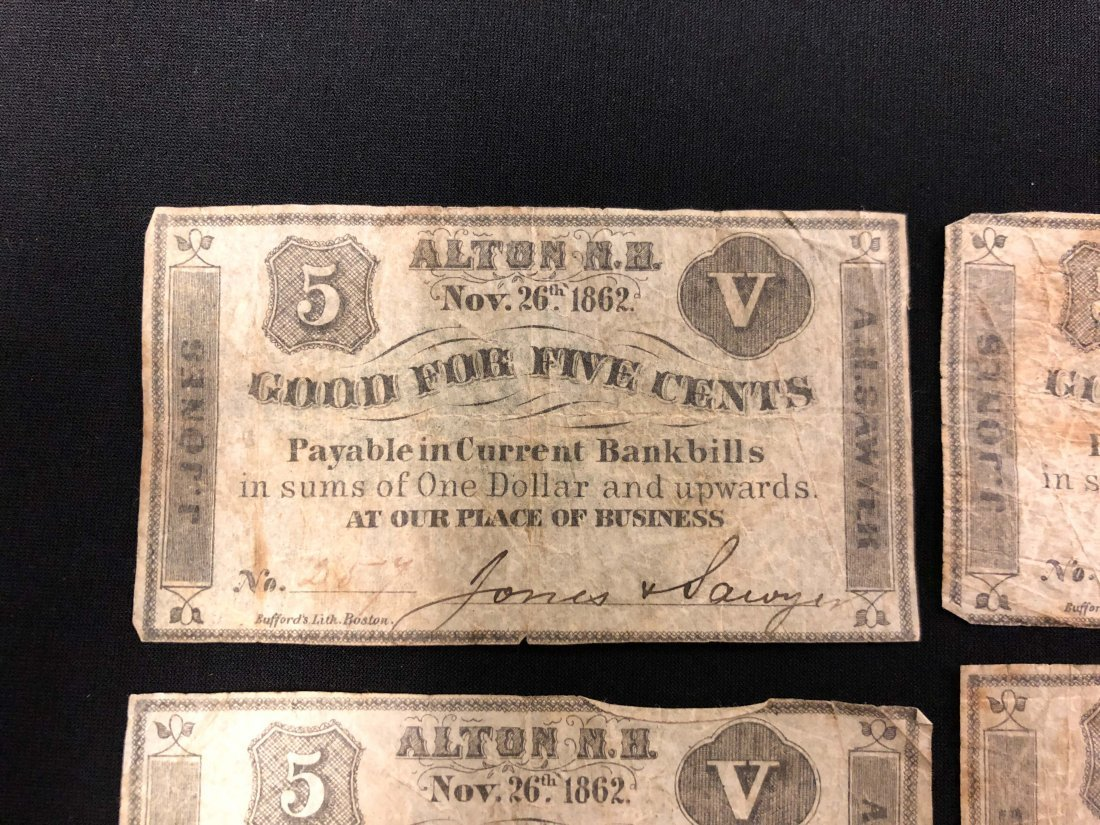 (5) ALTON NH 1862 FRACTIONAL CURRENCY NOTES - 3