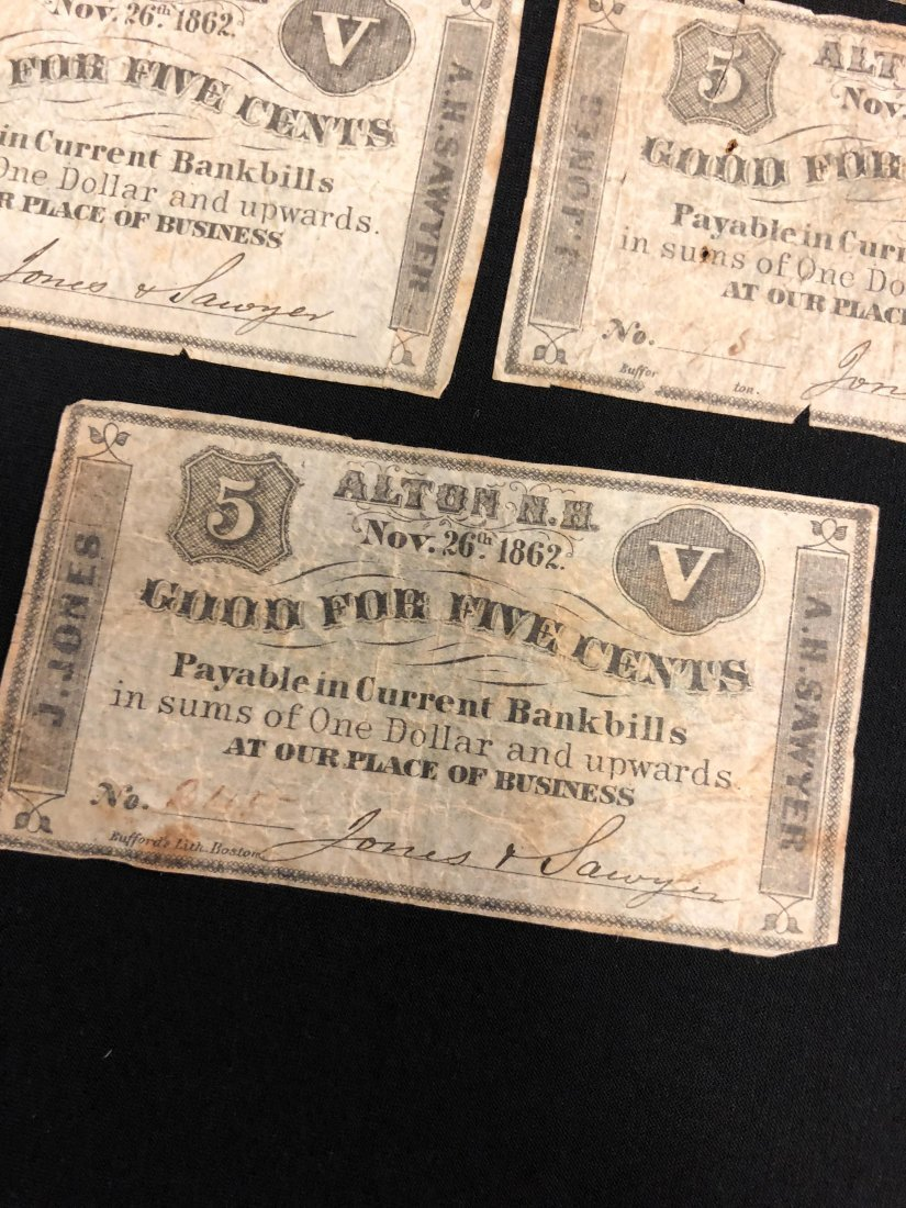 (5) ALTON NH 1862 FRACTIONAL CURRENCY NOTES - 6