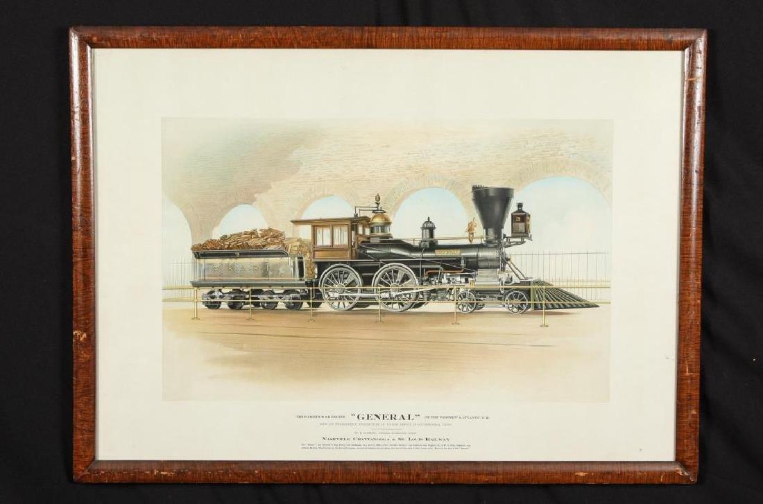 "1862 WAR STEAM ENGINE ""GENERAL"" CHROMOLITHOGRAPH"