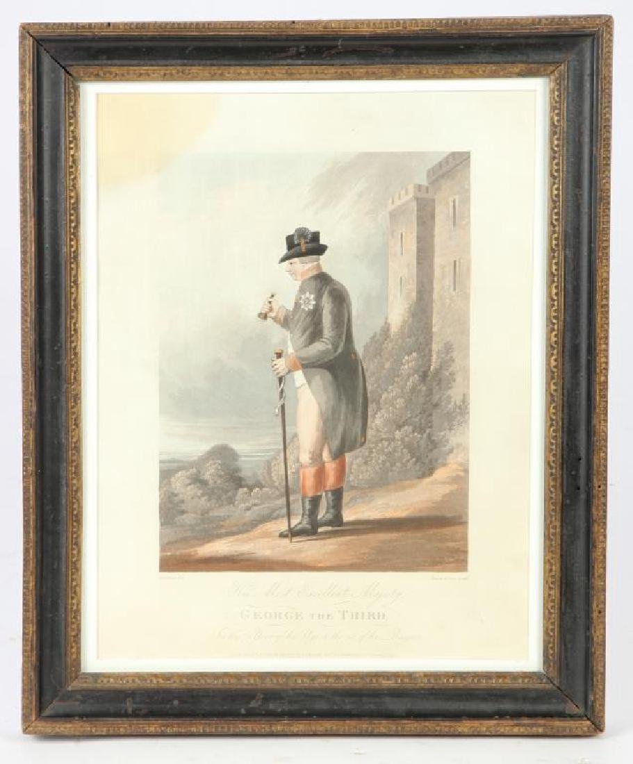(19th c) AQUATINT PORTRAIT OF KING GEORGE III
