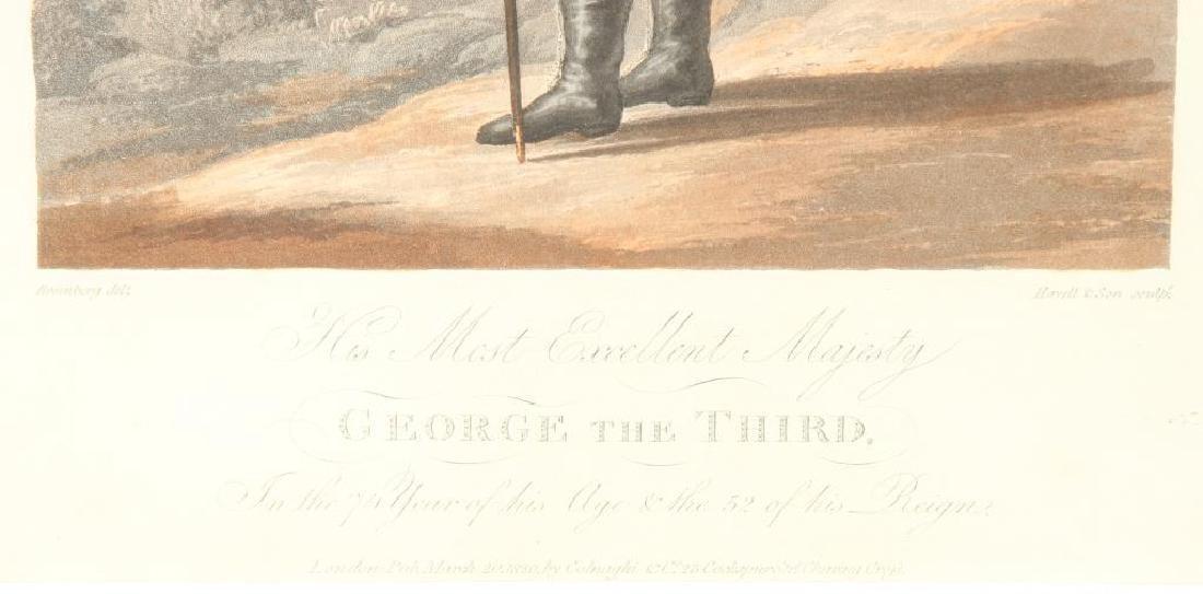 (19th c) AQUATINT PORTRAIT OF KING GEORGE III - 3