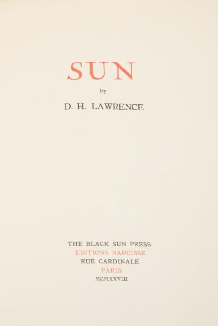 """""""SUN"""" by D.H. LAWRENCE 1928 FIRST EDITION PARIS"""