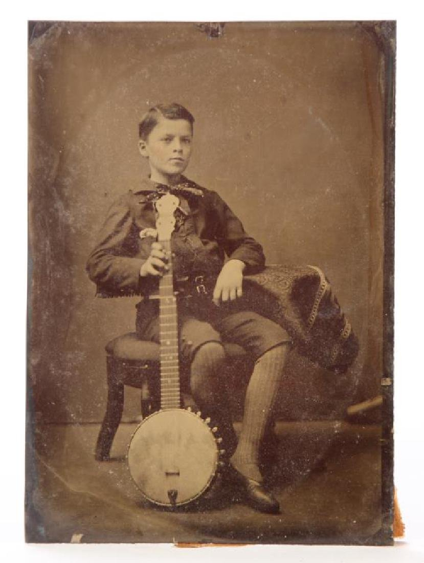 TIN TYPE OF BOY WITH BANJO & NATIONAL BANJO METHOD - 5