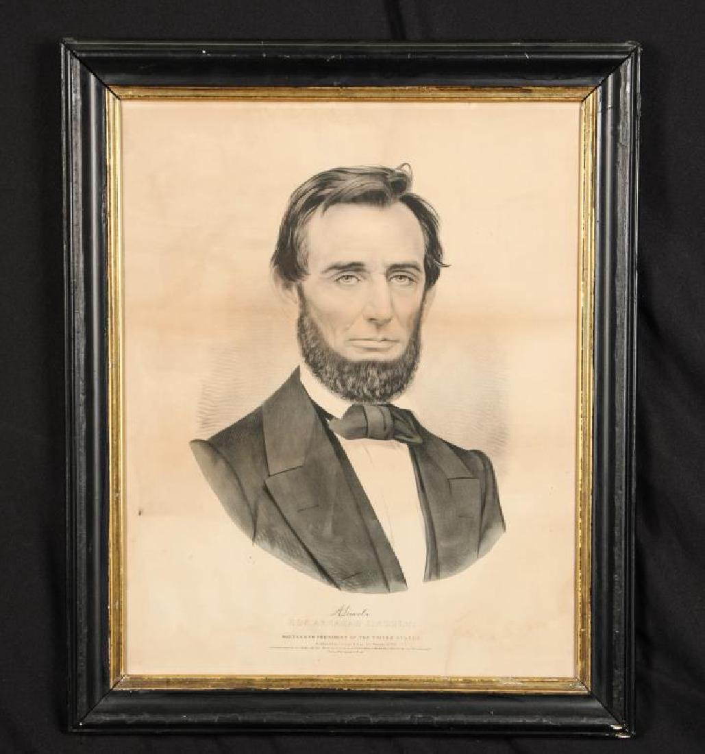 1860 CURRIER & IVES LITHOGRAPH OF ABRAHAM LINCOLN