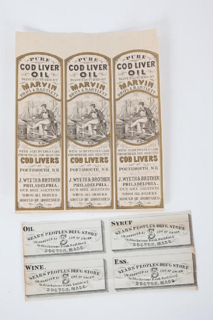 (2) BLOCKS OF UNUSED APOTHECARY LABELS