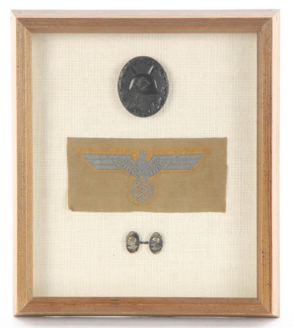 (3) FRAMED NAZI MEDAL / PATCH AND CUFFLINK