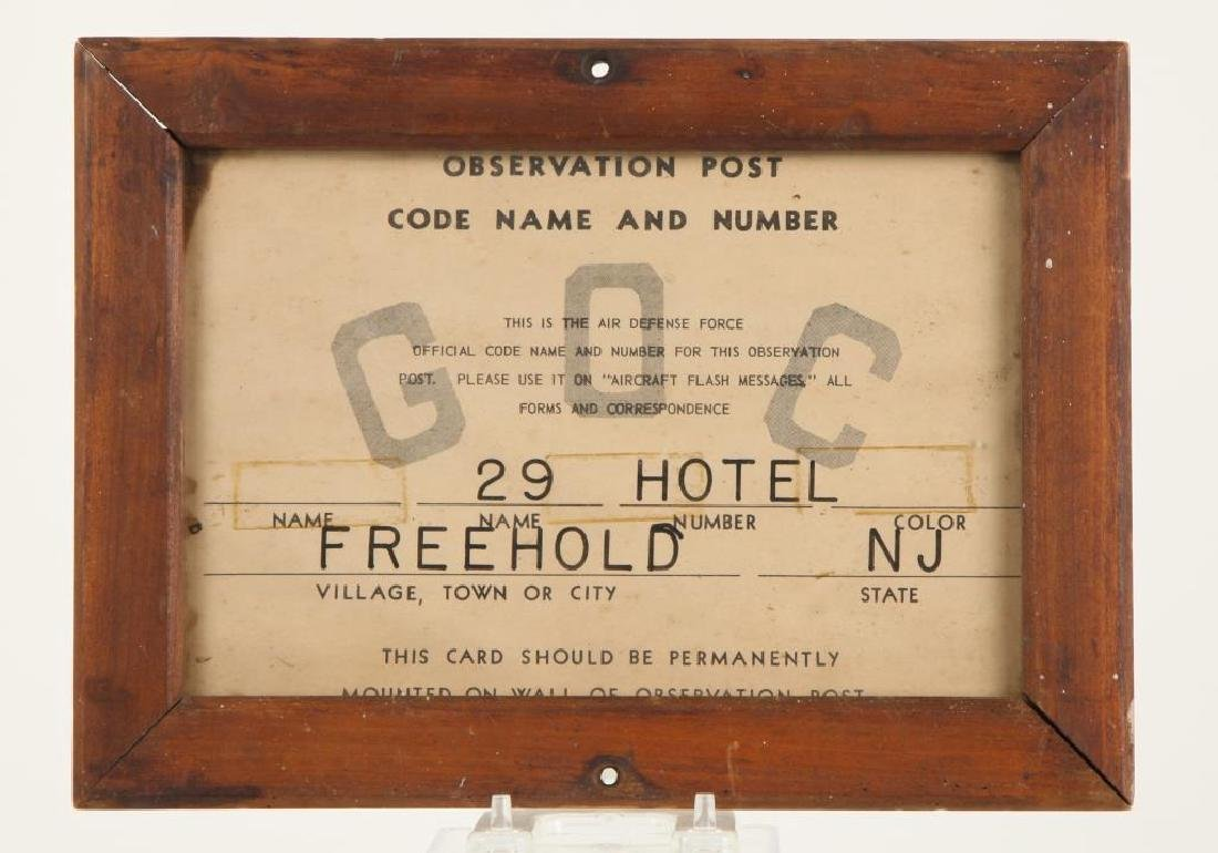 WWII AIR DEFENSE OBSERVATION POST FREEHOLD NJ SIGN