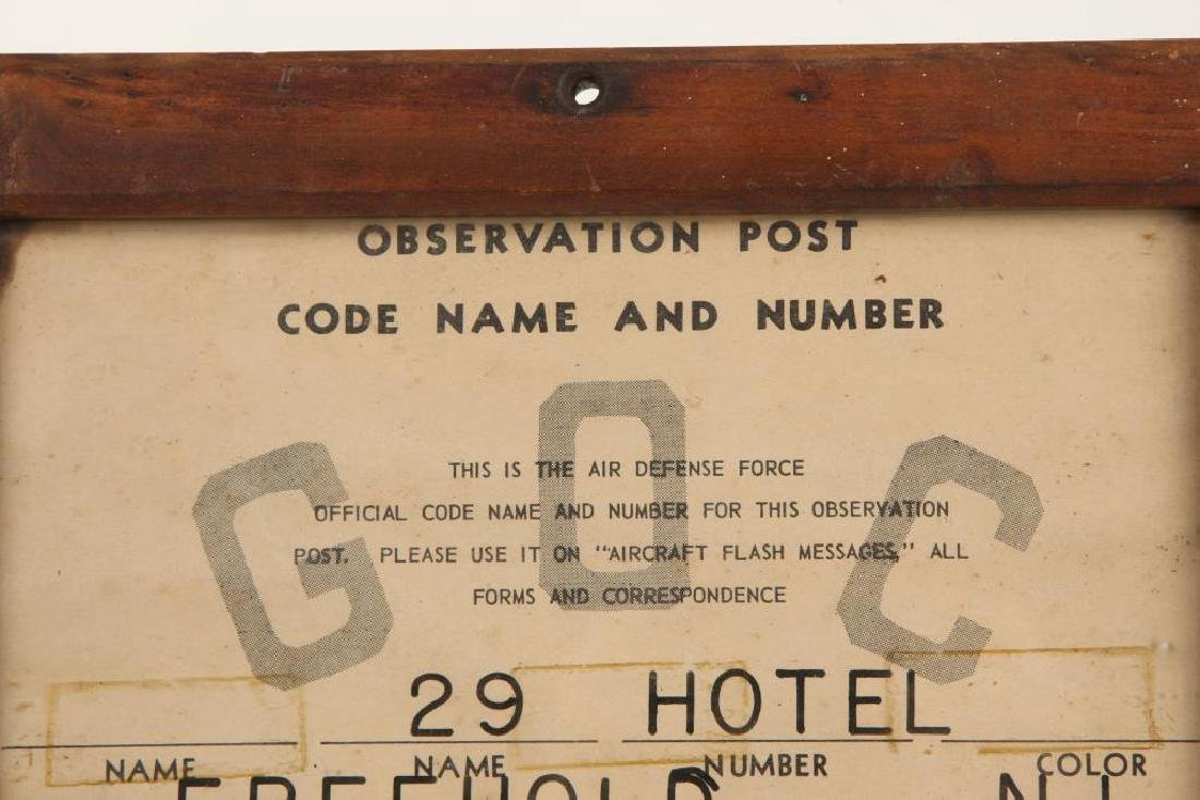 WWII AIR DEFENSE OBSERVATION POST FREEHOLD NJ SIGN - 2