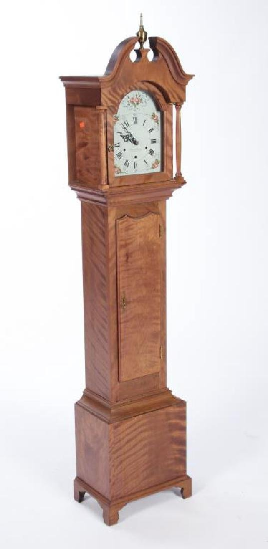 ELMER O. STENNES TIGER MAPLE DWARF CASE CLOCK