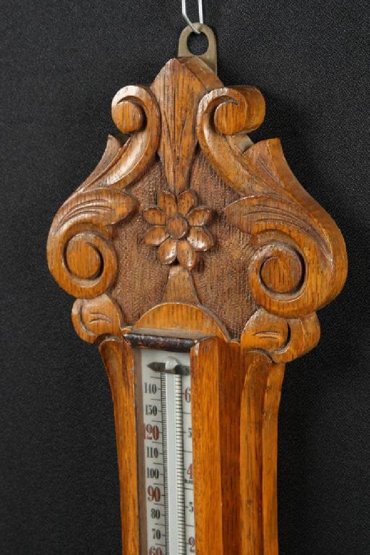CARVED OAK ANEROID BAROMETER - 2