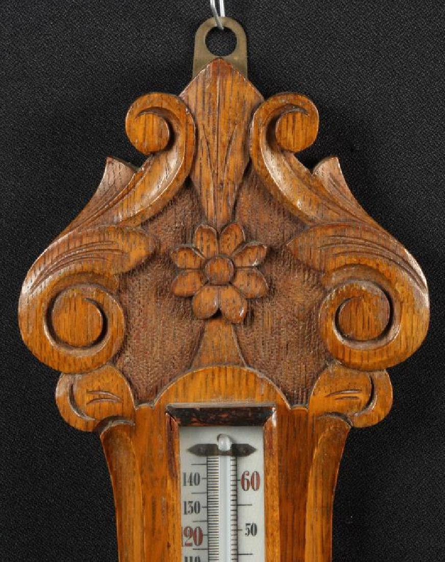 CARVED OAK ANEROID BAROMETER - 3