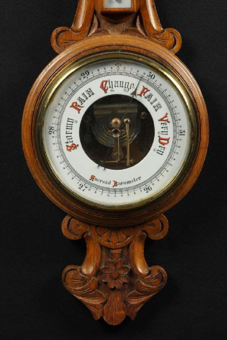 CARVED OAK ANEROID BAROMETER - 4