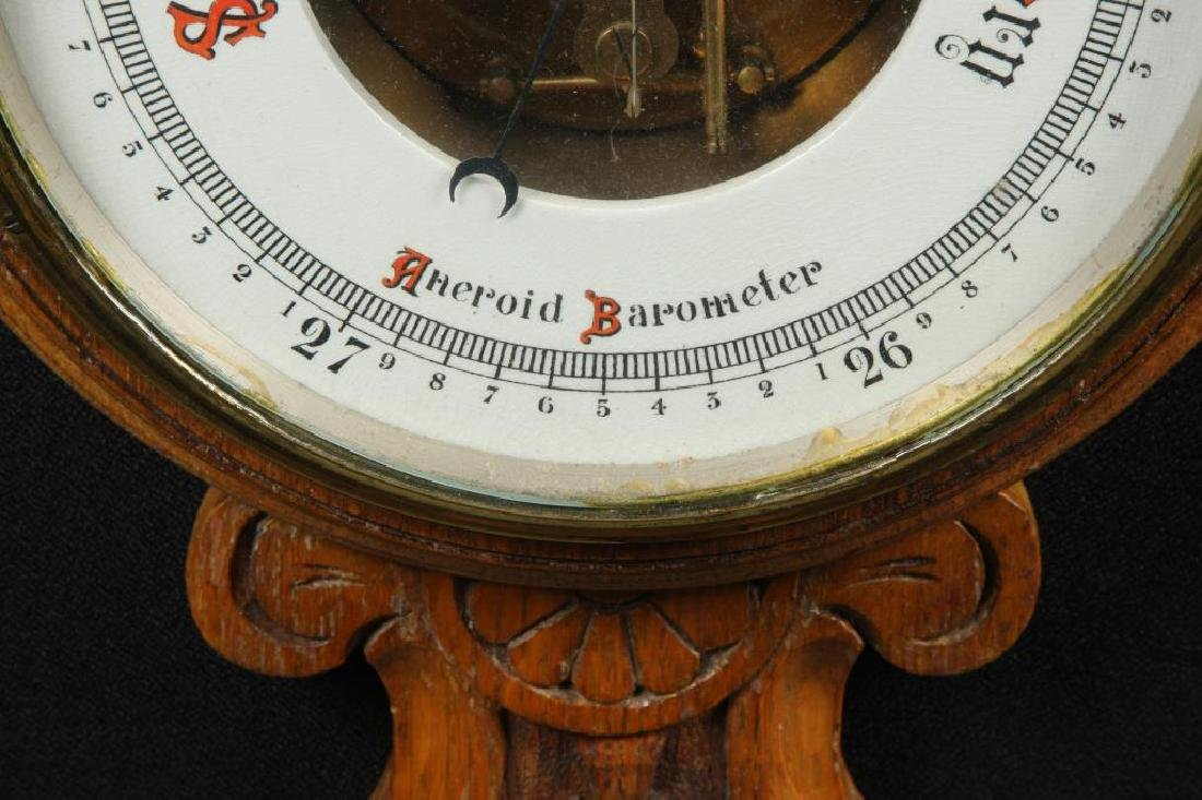 CARVED OAK ANEROID BAROMETER - 5