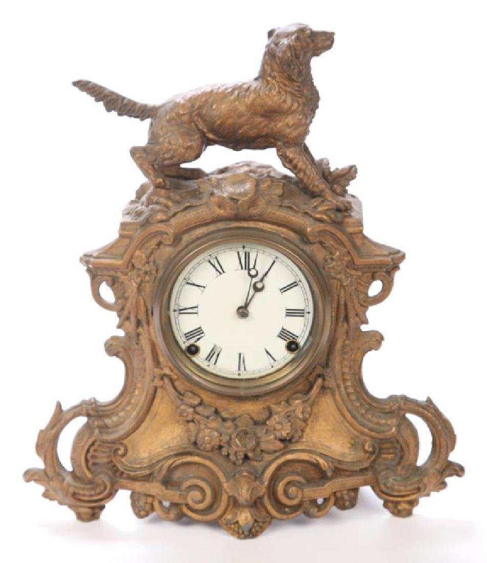 AMERICAN CLOCK CO. FIGURAL HUNTING DOG SHELF CLOCK