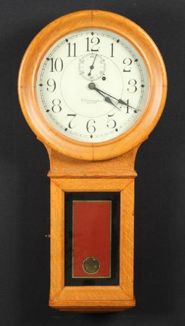 E. HOWARD & CO BOSTON WEIGHT DRIVEN OAK WALL CLOCK