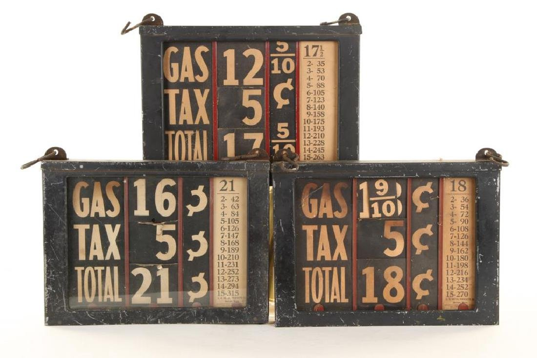 (3) EARLY GAS STATION GAS PRICING SIGNS