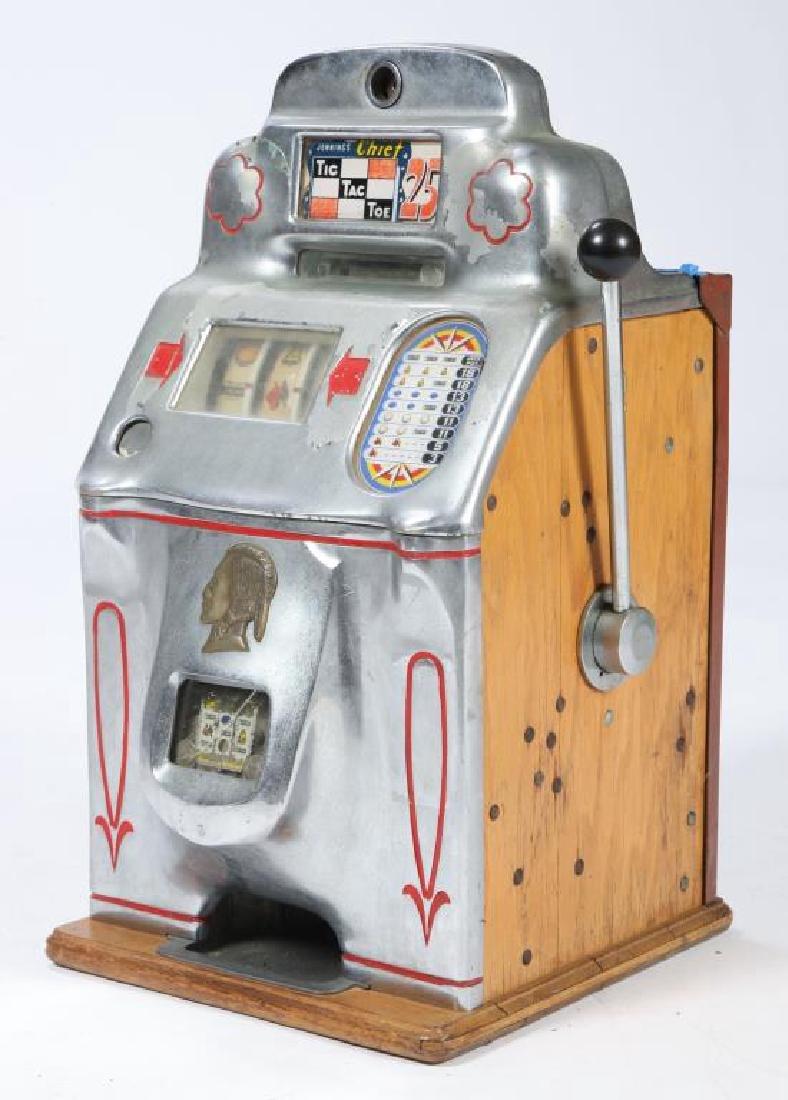 "25 cent JENNINGS ""CHIEF"" TIC TAC TOE SLOT MACHINE"
