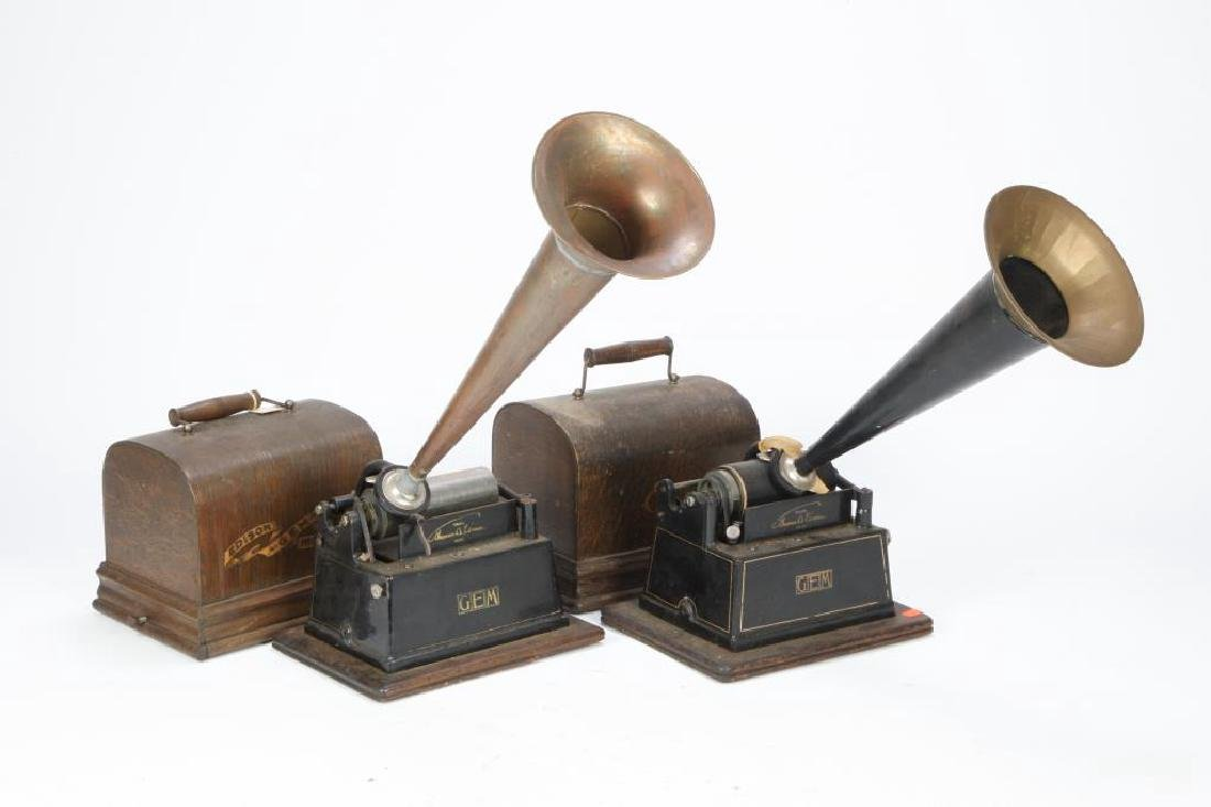 "(2) EDISON ""GEM"" CYLINDER PHONOGRAPHS"