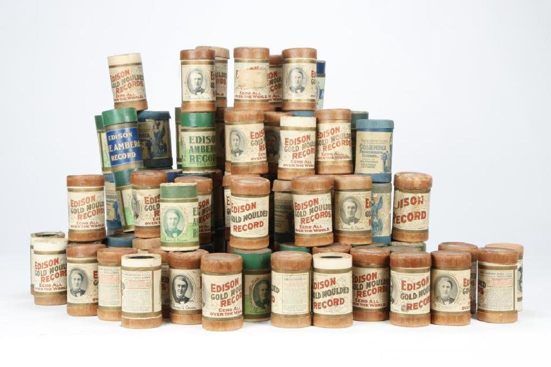 LOT OF OVER (80) CYLINDER RECORDS circa 1900 - 3