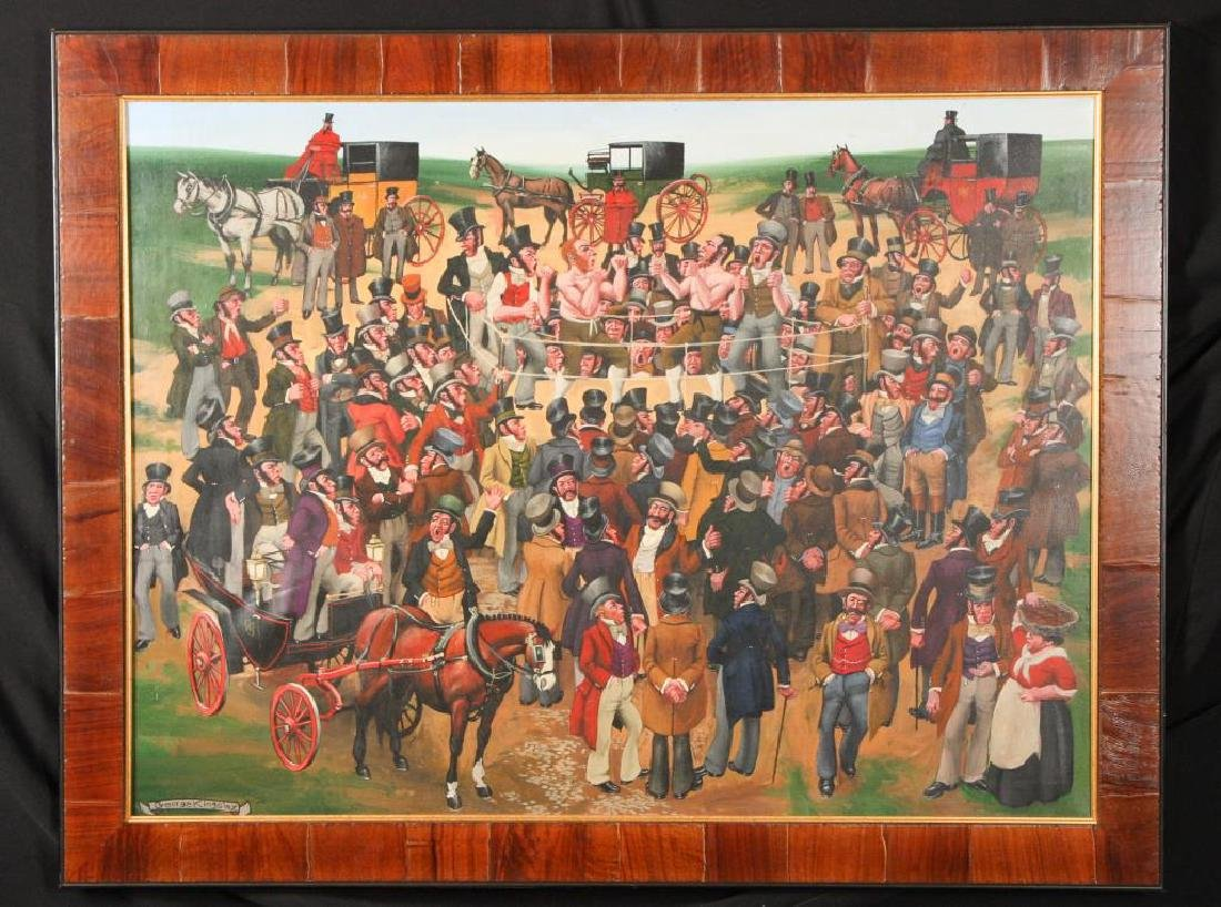 """GEORGE KINGSLEY PAINTING """"THE BOXING MATCH"""""""
