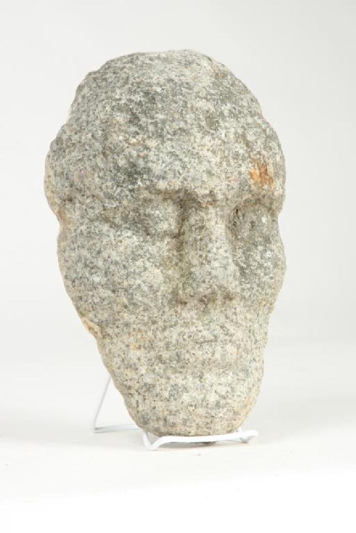 CARVED GRANITE FACE SCULPTURE - 6