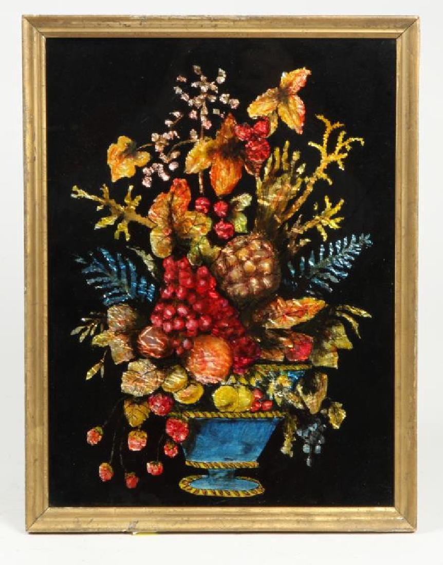 ANTIQUE TINSEL and REVERSE GLASS STILL LIFE