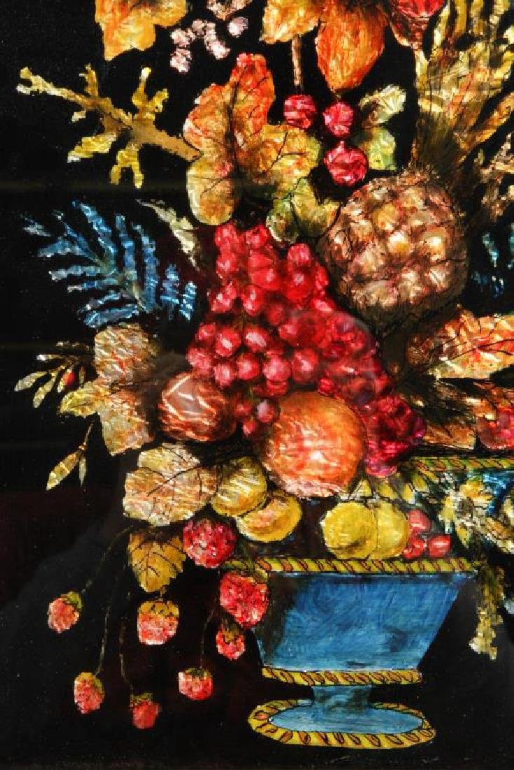 ANTIQUE TINSEL and REVERSE GLASS STILL LIFE - 3