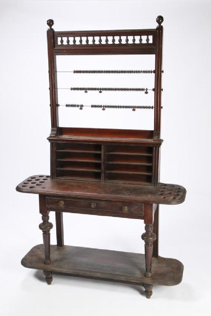 WALNUT POOL CUE & BALL RACK with SCORING BEADS