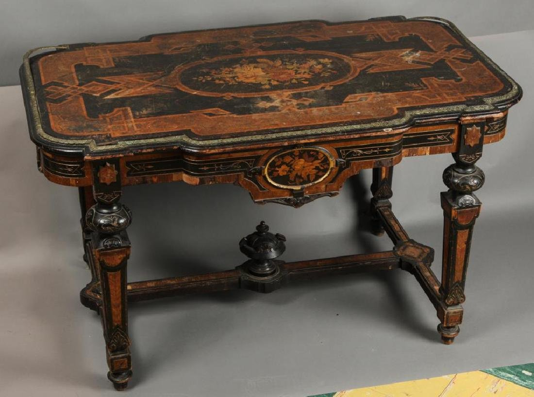 AESTHETIC MOVEMENT MARQUETRY INLAY CENTER TABLE