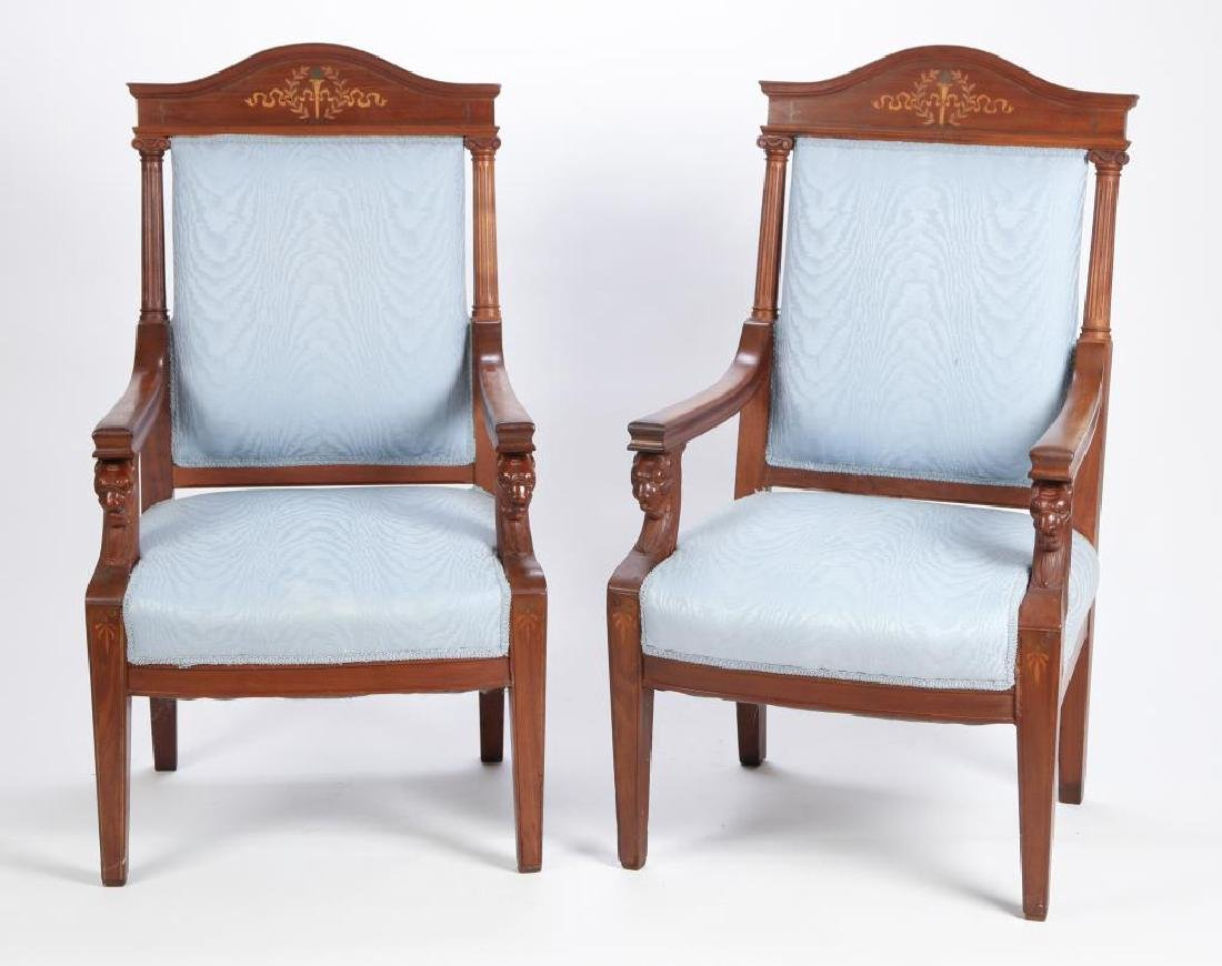 PAIR OF CARVED MAHOGANY UPHOLSTERED ARMCHAIRS