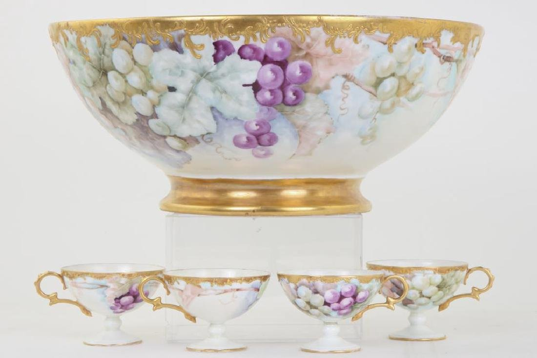 PORCELAIN PUNCH BOWL & CUPS HAND PAINTED w GRAPES