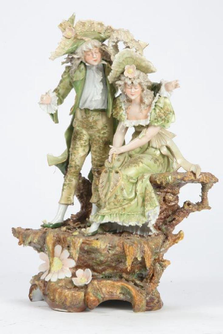 CONTINENTAL PORCELAIN FIGURE GROUP - 3