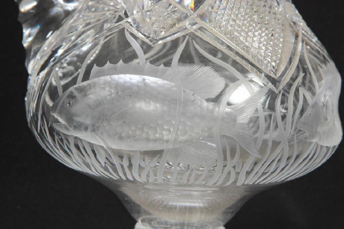ANTIQUE CUT GLASS EWER with SWIMMING FISH - 6