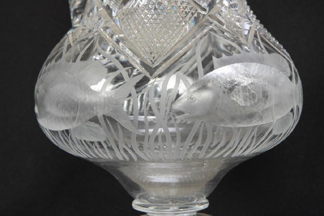 ANTIQUE CUT GLASS EWER with SWIMMING FISH - 7