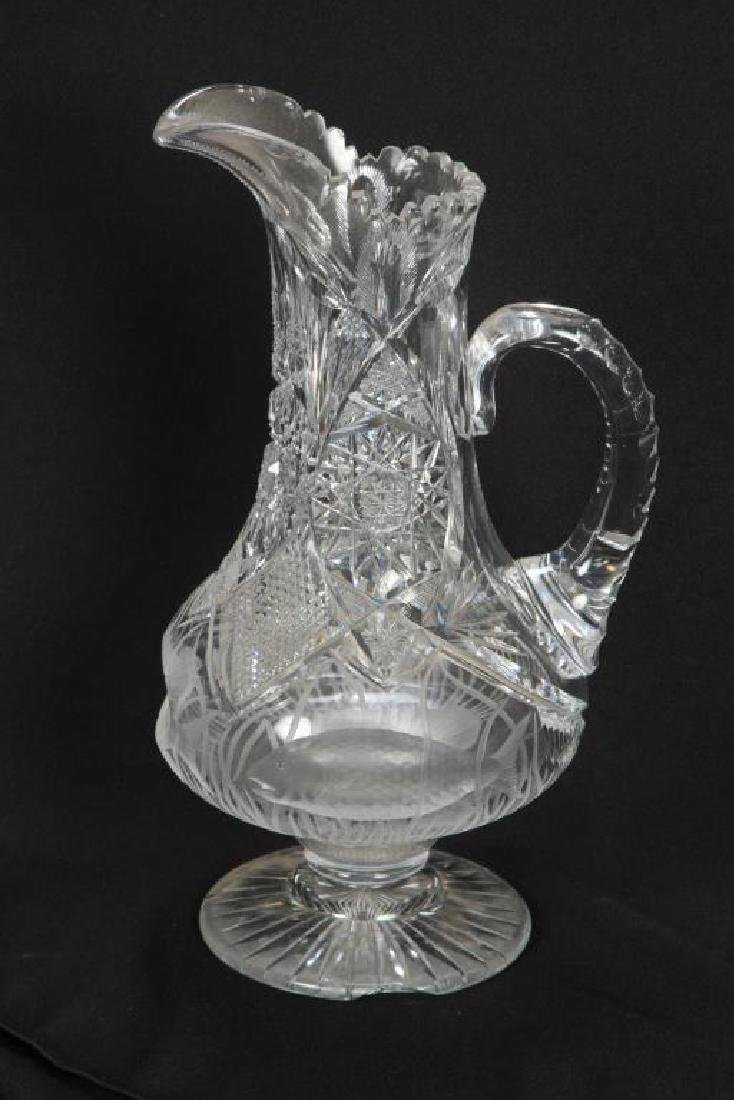 ANTIQUE CUT GLASS EWER with SWIMMING FISH - 8