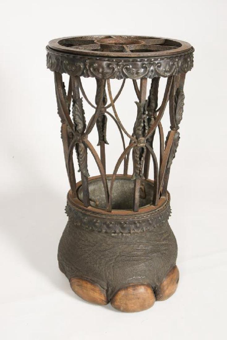 19th C WROUGHT IRON ELEPHANT FOOT UMBRELLA STAND - 10