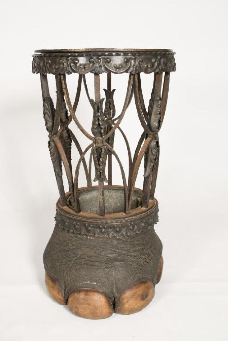 19th C WROUGHT IRON ELEPHANT FOOT UMBRELLA STAND