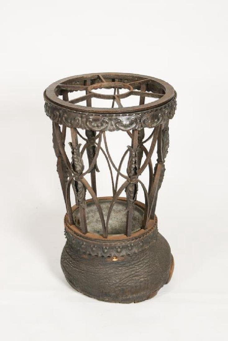19th C WROUGHT IRON ELEPHANT FOOT UMBRELLA STAND - 2